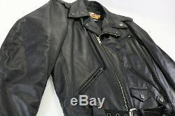 Vintage USA Hommes Harley Davidson Veste Cuir L Haut Long Noir Shovel V-Twin